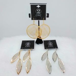 3 Pairs of 2 Chic Earrings